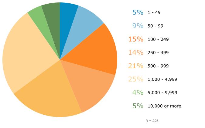 Размер организации респондентов по количеству работников